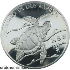 MEXICO 5 PESO 1994 PACIFIC RIDLEY SEA TURTLE SILVER RARE PROOF IBERO AMER Z966