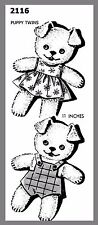 Stuffed Puppy Twins W/ Clothes Cute Vintage Fabric material  Sew Pattern # 2116