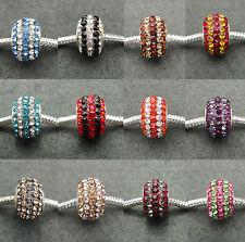 Stripe Crystal Rhinestone Pave Sparkle Beads Charms, fit European Charm Bracelet