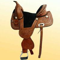 "Western leather treeless saddle 16"" on eco leather buffalo chestnut color."