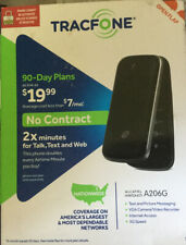 New TRACFONE ALCATEL ONE TOUCH FLIP PHONE - BLACK A206G