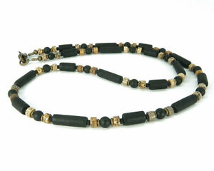 Mens Necklace Thin Unisex Necklace with Onyx, Jasper and 'Sea Glass' Tubes
