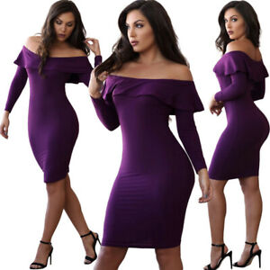 Women Sexy Ruffle Off Shoulder Long Sleeves Bodycon Skinny Cocktail Party Dress