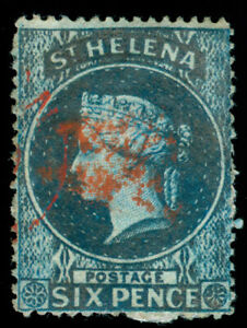 MOMEN: ST HELENA SG #2 1861 DEEP BLUE CLEAN CUT USED LOT #60417