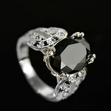 Elegant Women Oval Cut Black Sapphire 925 Silver Jewelry Wedding Ring Size  7