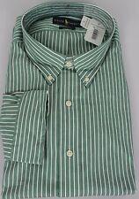 Polo Ralph Lauren Dress Shirt Mens 22 34 35 Classic Fit Green White Stripe