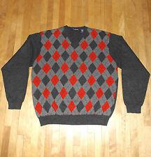 men's 100% cashmere JOHN ASHFORD argyle sweater pullover jumper v-neck size XL