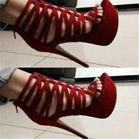 Platform High Heel Hollow Out Women Sandals Open Toe Stiletto Shoes Plus Size