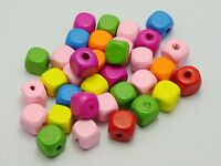 100 Mixed Bright Candy Color 10mm Cube Wood Beads~Wooden Beads
