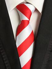 Classic Mens Necktie Fancy Silk White Red Striped Ties Wedding Business XT-058