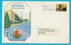 UK British Architecture Modern Universities FDC 1974 Posted to New Zealand XL