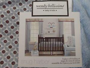 3 pcs Wendy Bellissimo SNUG HARBOR Nursery Crib Bedding Set - Blue, Brown, White