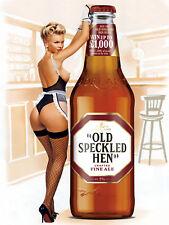 Old Speckled Hen Pin Up, Retro metal Aluminium Vintage Sign, Man Cave, Bar/Pub