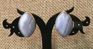 Jay King Blue Lace Agate Marquise Sterling Silver Stud Earrings NWT