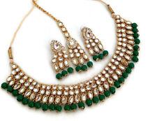 Indian Bollywood Green Gold Plated Fashion Kundan Wedding Jewelry Necklace Set