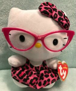 """TY Beanie Babies Hello Kitty Plush Soft Toy 6"""" Sanrio with pink glasses 2013"""