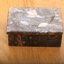 Vintage Brown Marble Trinket Jewelry Box With Pink Flower Inlay Made In India