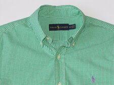 Polo Ralph Lauren Green White checks 100% cotton shirt L/S button down collar S