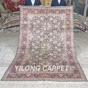 Yilong 5'x8' Floral Handwoven Silk Carpet All Over Villa Handmade Area Rug 427A