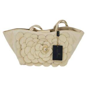 Paolo Masi Ivory Genuine Leather 3D Flower Embellished Satchel NWT
