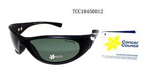Cancer Council Men Sports Polarised Sunglasses Logan Black Matt Black Active