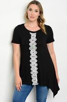 Women's Plus Size Top Blouse Shirt Casual Stretch Crochet Relaxed Black Tunic