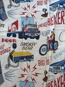 "Vintage 1970s CB Radio Fabric"" Breaker Breaker"" ""Smokey"" Bear"" Trucker Large Pce"