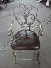 "Frontgate Kishel Iron Leather Barstool COUNTER HEIGHT Bar 24"" Stool Chair metal"