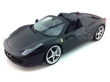 HOT WHEELS FERRARI 458 ITALIA SPIDER FLAT BLACK1/18 DIECAST CAR X5528