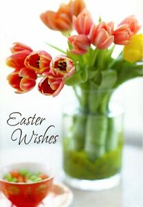 Happy Easter Wishes Pink Tulip Tulips Bouquet Theme Hallmark Greeting Card