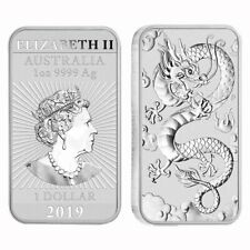Perth Mint Rectangular Dragon 1 Ounce Silver Bar 2019