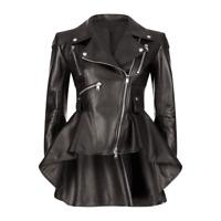 Ladies Women Lamb Skin Genuine Leather Black Frock leather Jacket Leder jacket