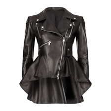 Ladies Women Lamb Skin Genuine Leather Black Frock leather Jacket Leder jacket