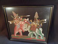 """VINTAGE 10"""" BY 12""""  INDIA ELEPHANT WARRIORS FRAMED SILK PAINTING"""