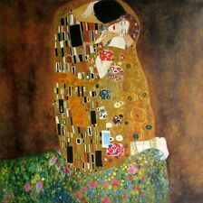 Gustav Klimt the Kiss Repro, Quality Hand Painted Oil Painting, 36x36in