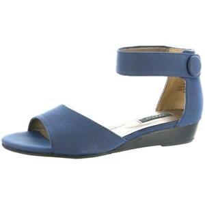 Array Womens Havana Navy Dress Wedge Sandals Shoes 7.5 Wide (C,D,W) BHFO 4946