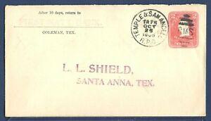 US Stamped Envelope U385 Washington 2¢ Carmine Coleman TX RPO to Santa Anna TX