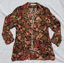 AS NEW Quirky Circus Size 10 Blazer Jacket Floral Black Print Pretty