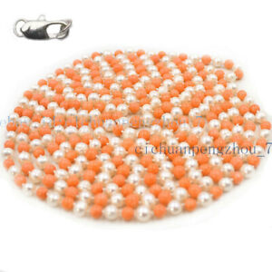 Natural 6-7mm White Pearl & 8mm Orange Coral Round Beads Necklace 16-100''