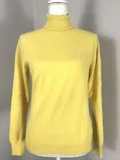 Eric Bompard Size Medium Cashmere Sweater Turtleneck Yellow Fitted Long Sleeve