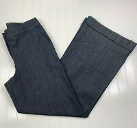 St. John Womens 6 Wide Leg Trouser Pants Denim Dark Rinse Blue Cuffed Hem Career