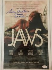 Jaws 11x17 poster signed by Susan Backlinie (Chrissie-1st victim) Jsa Auth.