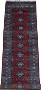 Genuine Red 2 ft 6 in x 11 ft Carrot red Geometric Design Handmade Bokhra Jaldar
