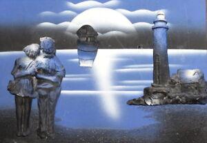 Vintage gouache painting collage pottery sunset seascape lighthouse couple