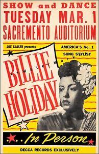 Billie Holiday 1949 Sacramento CA Vintage Poster Print Retro Style Music Advert