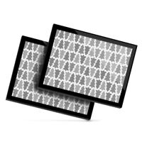 2x Glass Placemats 20x25 cm - BW - Christmas Trees Pattern Tree  #38998