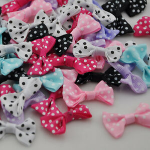 U pick 40 pcs Dots Satin Ribbon Bows Flowers Wedding Appliques Craft A28