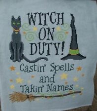 Halloween Witch On Duty Completed Cross Stitch