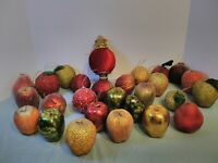 Lot 27 Vintage Glitter FRUIT Christmas Balls Ornaments Styrofoam