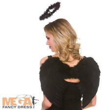 Black Feather Wings & Halo Set Ladies Fancy Dress Dark Angel Costume Accessory
